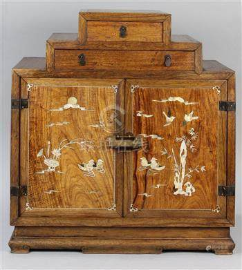 Chinese mixed hardwood small cabinet, with two drawers forming a stepped construction above a