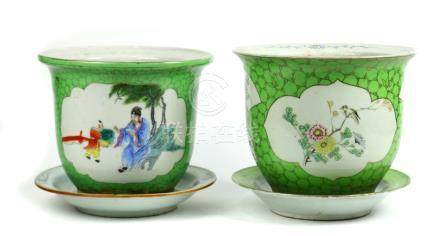 (lot of 2) Chinese porcelain planters, each with lime colored ground, one with bird-and-flower