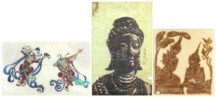 (lot of 3) Asian print of a Buddha, signed and sealed; together with two ink rubbings, one with