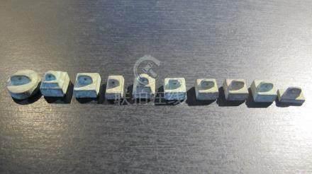 Collection de dix sceaux miniatures.  Bronze. L 12 à 20mm. Chine. Epoque ou sty