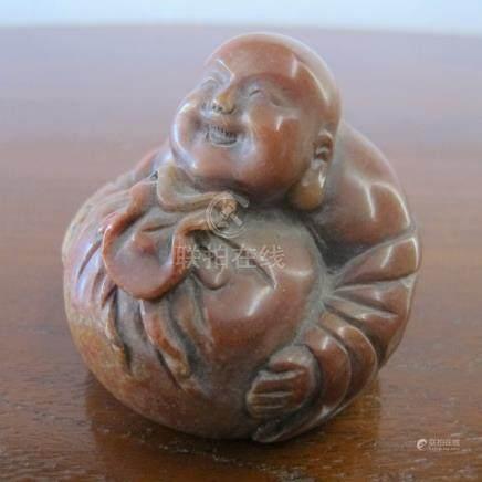 Cachet de Lettré au personnage serrant une bourse. Stéatite, pierre de Shoushan