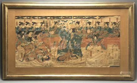 Estampe de KUNISADA, triptyque, format tate-e représentant une scène de danse M