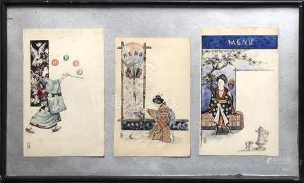 Travail européen dans le goût du Japon, vers 1900-20. Trois menus. Encre et cou