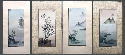 Encre et couleurs sur papier (4). Paysages. Signés «Zhi» (chaque). Certaines av