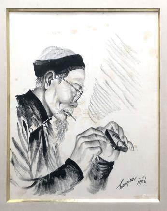 NGUYEN Huyen (1915-1994). Vieil homme à la cigarette - 1956. Encre sur soie. 34