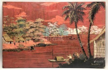 Hoàng NGOC (XXe siècle). Ecole des Arts Appliqués de Thu Dau Môt. Paysage à la