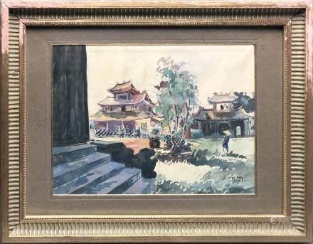 Thien Dam (XXe siècle). Hanoi - 1934. Aquarelle sur papier. Signé et daté en ba