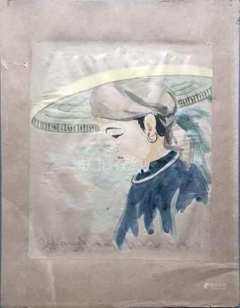 Ecole vietnamienne / indochinoise du XXe siècle. Jeune femme au chapeau. Aquare