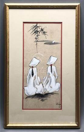Ecole vietnamienne du XXe siècle. Deux jeunes femmes de dos. Aquarelle et gouac