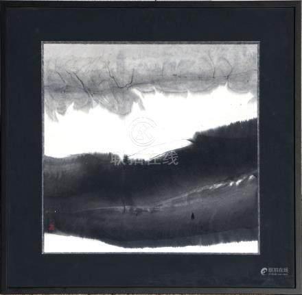 GAO Xingjian (né en 1940). L'encre et la lumière - 1996. Encre de Chine et lavi
