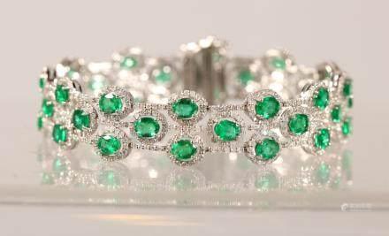AIG Certified Emerald & Diamond Platinum Bracelet
