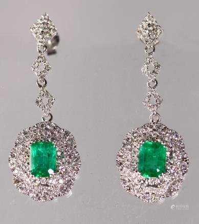 AIG Certified; Pr Emerald & Diamond Drop Earrings