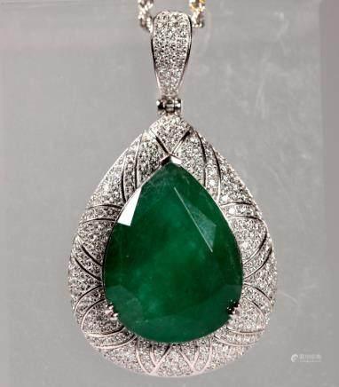 GIA & AIG Certified; Lg Pear Cut Emerald Pendant