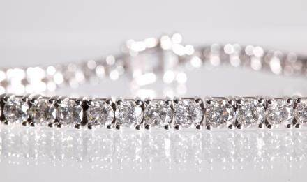 AIG Certified; 44 Diamond 14K Tennis Bracelet