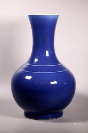 Lg Chinese Late Qing Blue Monochrome Vase