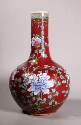 Chinese 19 C Oxblood Red Porcelain & Enamel Vase