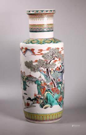 Chinese Famille Verte Military Porcelain Vase