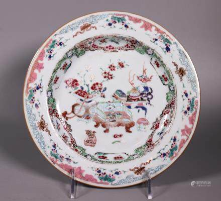 Chinese Early 18 C Enameled Porcelain Plate