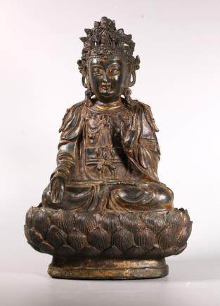 Fine Chinese Ming Bronze Seated Guanyin