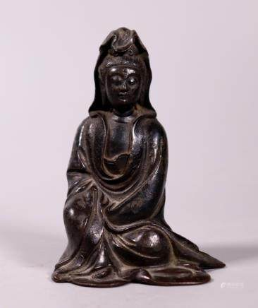 Chinese 17/18 C Seated Bronze Guanyin