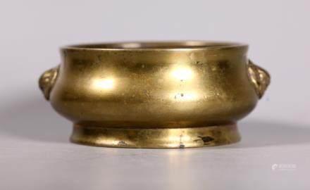 Chinese 18/19 C Bronze Round Incense Burner