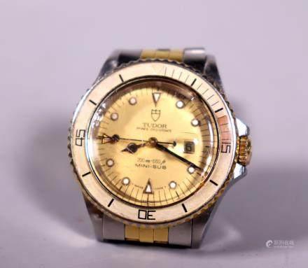 Tudor Rolex; Oysterdate Mini-Sub Wristwatch & Band