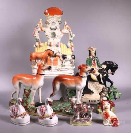 9 Staffordshire 19 Century Ceramic Figures