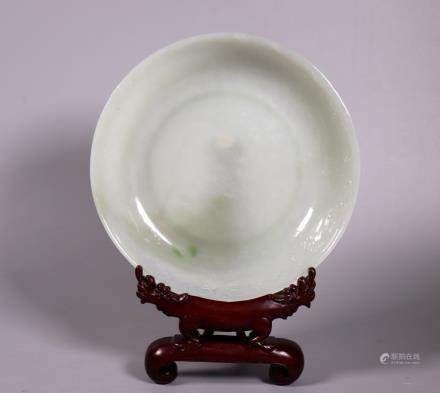 Fine Chinese Qing Carved Jadeite Shallow Bowl