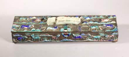 Chinese Jade Handle Enameled & Silvered Bronze Box