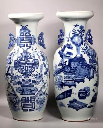 2 Large 19 C Chinese Blue & White Porcelain Vases