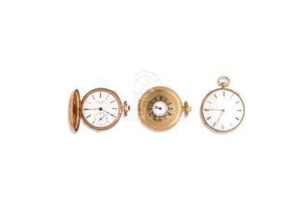LOT de 3 montres de poche en or 18K Poids brut 147 gr