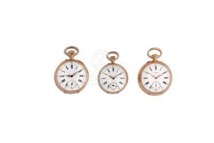 LOT de 3 montres de poche fin 19e en or 18K Poids brut 206 gr