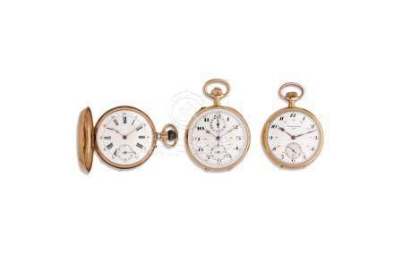 LOT de 3 montres de pocheFin 19e. Or 18K.Savonnette anonyme.Chronographe anonym