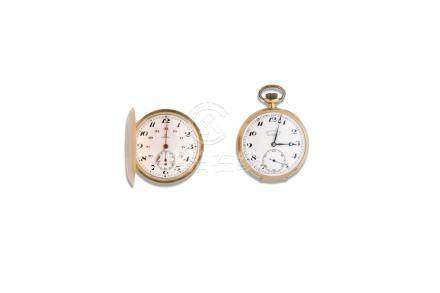 LOT de 2 montres de poche fin 19e en or 18K Dont une accompagnée de sa chaine g