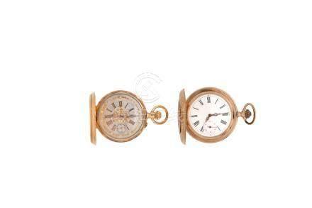 LOT de 2 montres de poche savonnette en or 18KPoids brut 182,2 gr
