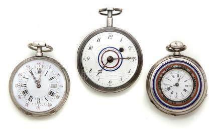 LOT de 3 montres de poche en argent avec des attributs patriotes.Poids total br