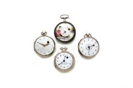 LOT de 4 montres à coq en argent dont une décor émail et une à réveil.