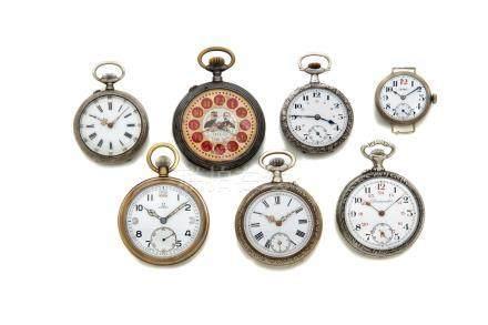 LOT de 7 montres de poche diverses évocation de la guerre de 1914. Dont une de