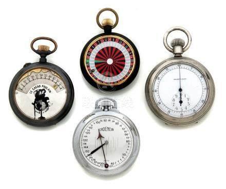 LOT de 4 montres de pochesDébut 20e. Compteur de temps «Jockey Club» Roulette d