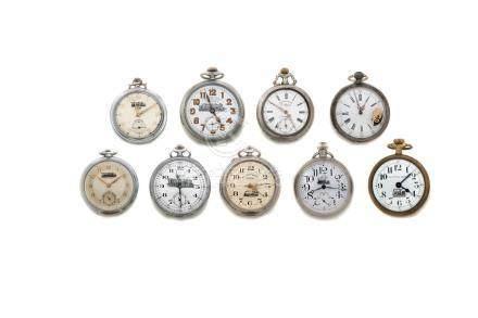 LOT de 9 montres de poche des chemins de fer. Début 20e.