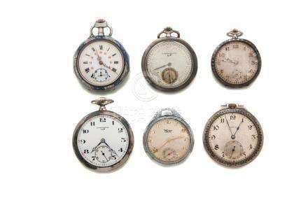 LOT de 6 montres de poche fin XIXe dont émail niellé.