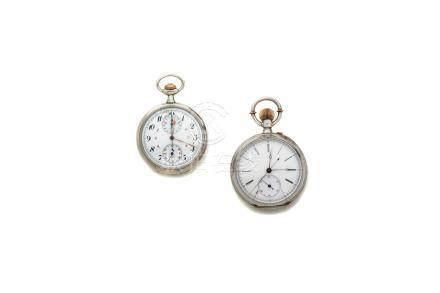 LOT de 2 chronographes de pocheOMEGA Boitier acierANONYME en argent