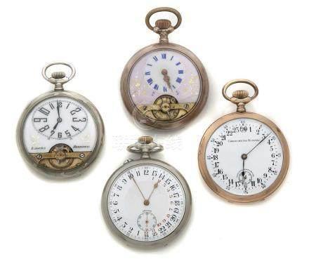 LOT de 4 montres de poche en métal 2 HEBDOMAS 2 Affichages 24h.