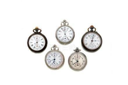 LOT de 5 chronographes de poche fin 19e.Vers 1900