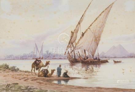 ÉCOLE ORIENTALISTE.    Bord du Nil avec Felouques.    Aquarelle monogrammée W.