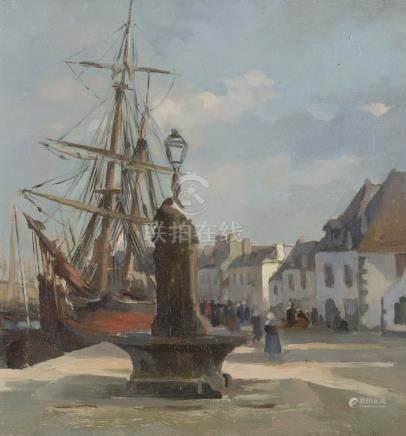 Émile Louis FOUBERT (1848-1911).    Port animé et voiliers. (Concarneau).    Hu