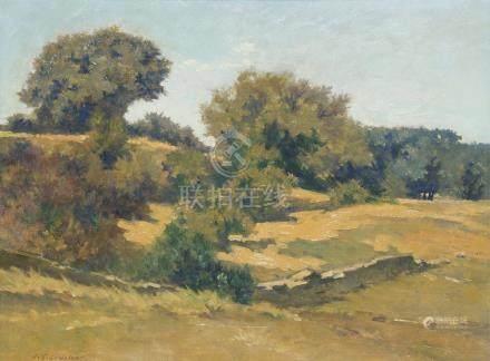 Jean Gabriel GOULINAT (1883-1972).    Les chênes verts (Drôme).    Huile sur is