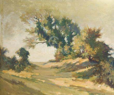 Jean Gabriel GOULINAT (1883-1972).    Sentier ombragé. Paysage.    Huile sur ca
