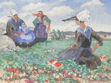 Yvonne JEAN HAFFEN (1895-1993).    Au pays des fraises. (Bretagne).    Huile su