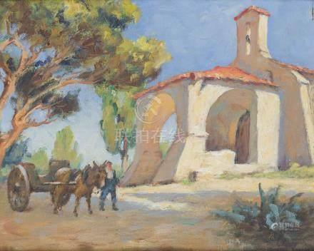 Gaston KNECHT (1875-1968).    Église et charrette.    Huile sur carton, signée